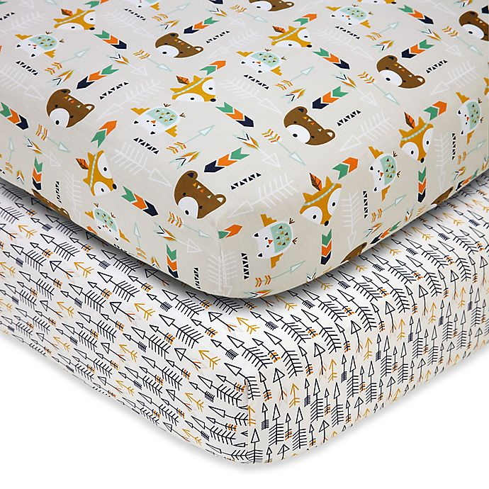 Alternate image 1 for Little Love by NoJo® Aztec Fitted Crib Sheets (Set of 2)