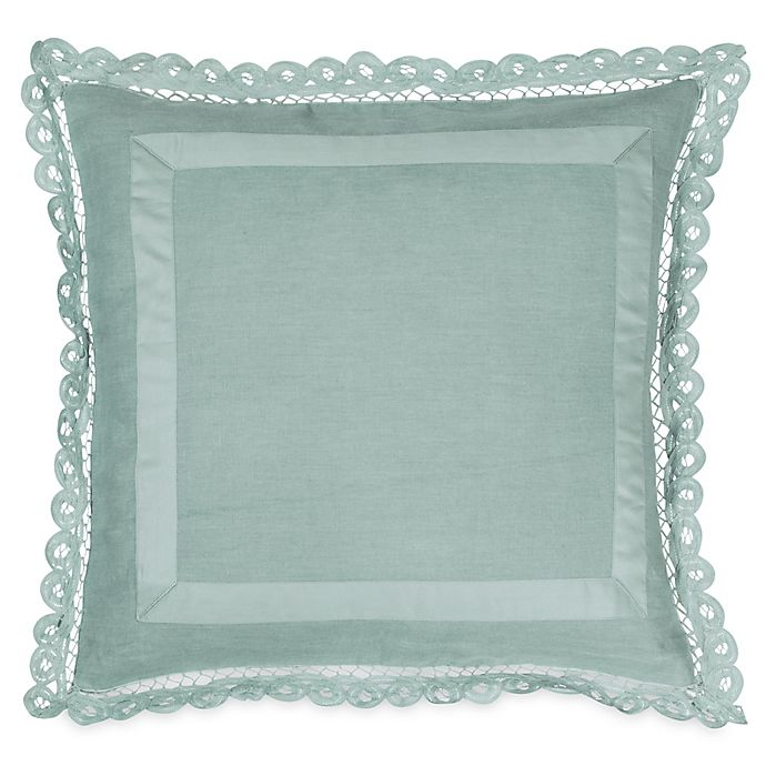 Alternate image 1 for Wamsutta® Vintage Linen Lace Trim Square Throw Pillow in Aegean