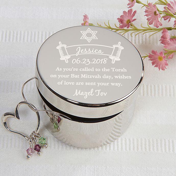 Alternate image 1 for Bat Mitzvah Engraved Keepsake Box in Silver
