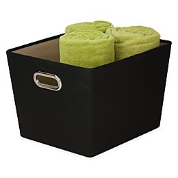 Honey-Can-Do Medium Decorative Storage Bin with Handles in Black