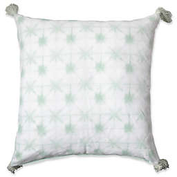 Shibori Tassel Square Floor Throw Pillow in Mint