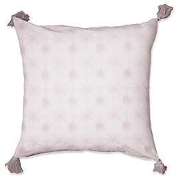 Shibori Tassel Square Floor Throw Pillow in Purple