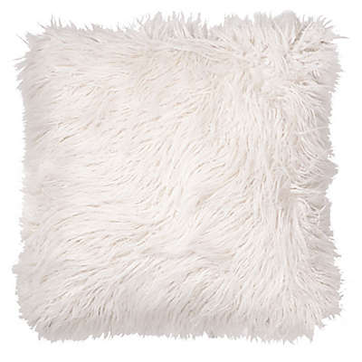 Faux Fur Floor Throw Pillow in White