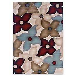 Linon Home Milan Floral 1'10 x 2'10 Accent Rug in Garnet