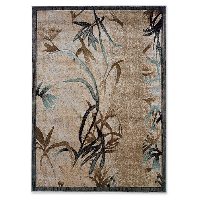 Alternate image 1 for Linon Home Milan Leaves 1'10 x 2'10 Accent Rug in Beige