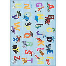Eric Carle Home Dynamix Elementary Blue Alphabet 6'6 x 9'5 Area Rug in Blue