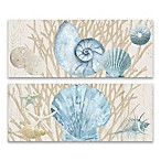 Artissimo Designs™ Rustic Shells on Wood 20-Inch x 8-Inch Canvas Wall Art (Set of 2)