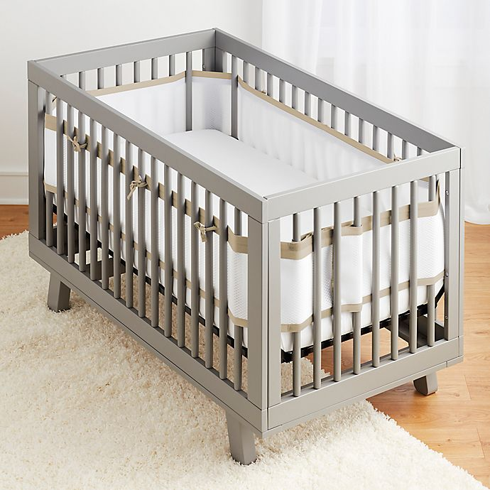 Alternate image 1 for BreathableBaby® Ruffled Deluxe Mesh Crib Liner in Natural