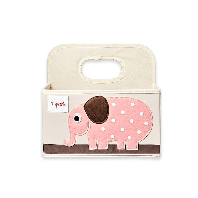 Alternate image 1 for 3 sprouts® Elephant Diaper Caddy in Pink