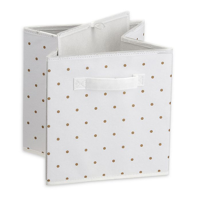 Little Seeds Small Polka Dot Print Storage Bin In Gold