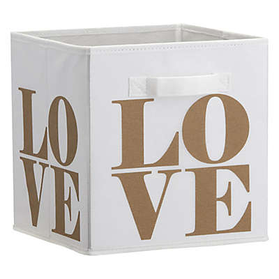 Little Seeds™ Love Print Storage Bin in Gold