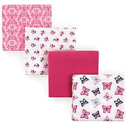 Hudson Baby® Butterflies 4-Pack Flannel Receiving Blankets in Pink