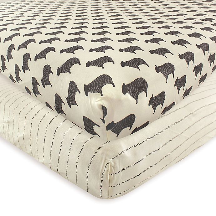 Alternate image 1 for Hudson Baby® Sheep 2-Pack Fitted Crib Sheets
