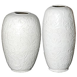 Botanical Relief Ceramic Vase in White