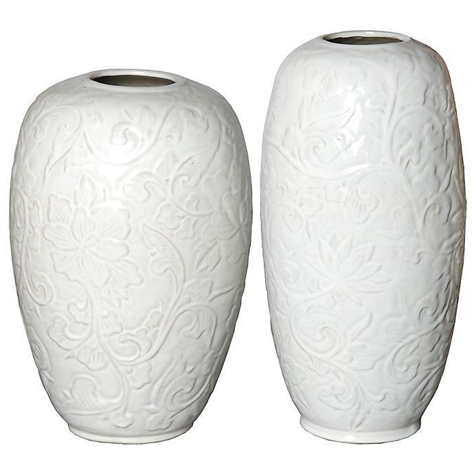Alternate image 1 for Botanical Relief Ceramic Vase in White
