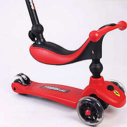 Ferrari 3-in-1 Twist Scooter with Flashing Wheels in Red