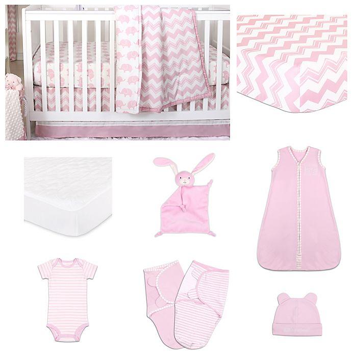 Alternate image 1 for The PeanutShell™ Ellie Chevron 11-Piece Sleep Essentials Crib Set in Pink