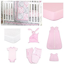 The PeanutShell™ Damask Delight Patchwork 11-Piece Sleep Essentials Crib Set in Pink/Grey