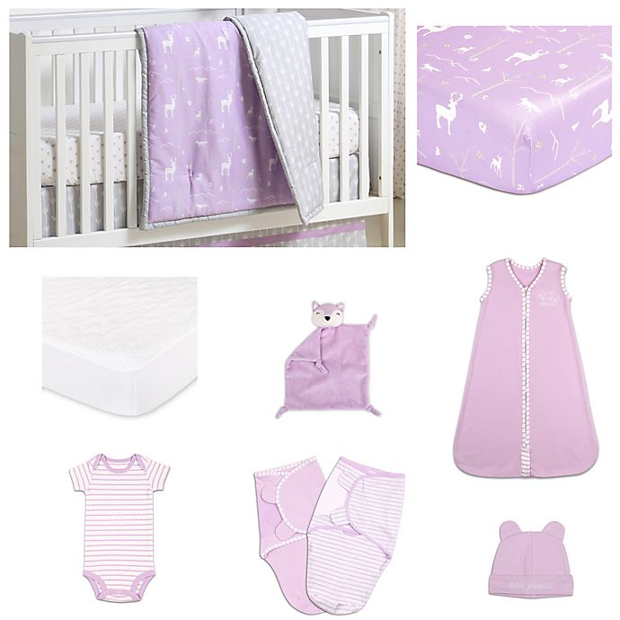 Alternate image 1 for The Peanutshell™ Hello Deer Crib Bedding Collection in Purple/Grey