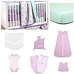 The Peanut Shell® Flower & Dew Drop 11-Piece Sleep Essentials Crib Set in Purple/Mint