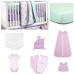 The Peanut Shell® Flower & Dew Drop Crib Bedding Collection in Purple/Mint