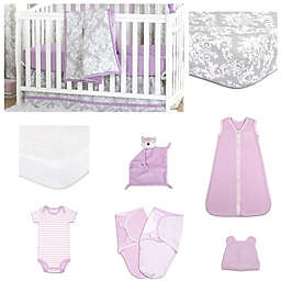 The Peanut Shell® Damsel Damask Crib Bedding Collection
