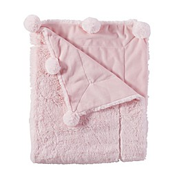 Mud Pie® Reversible Velour/Minky Pom Pom Blanket in Pink