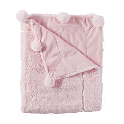 Mud Pie® Reversible Velour/Minky Pom Pom Blanket in Pink