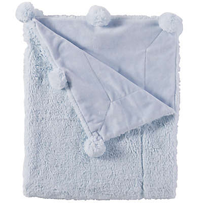 Mud Pie® Reversible Velour/Minky Pom Pom Blanket in Blue