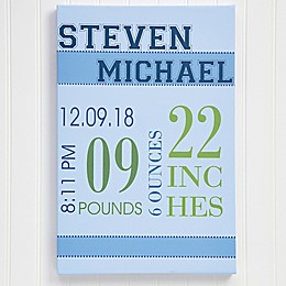Baby's Big Day Personalized Canvas Print For Boys Collection