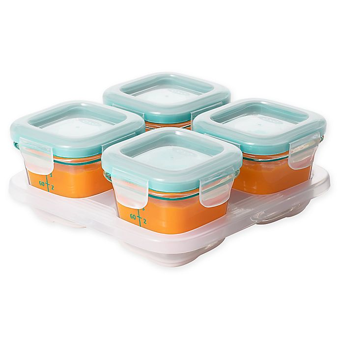 oxo tot 4 oz glass baby food storage blocks in teal set of 4 bed bath beyond. Black Bedroom Furniture Sets. Home Design Ideas