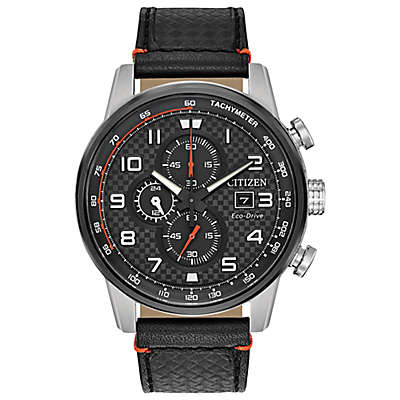 Citizen® Eco-Drive 45mm Primo Chronograph Watch in Stainless Steel w/Black Leather Strap