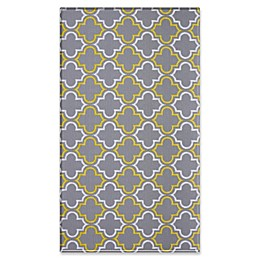 Dwinguler Damask 4'6 x 8' Reversible Area Rug in Grey