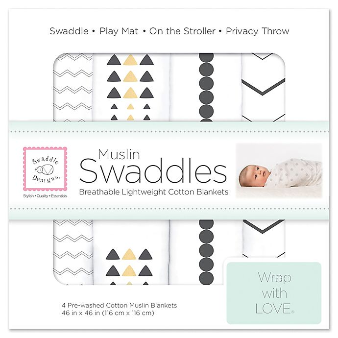 Alternate image 1 for SwaddleDesigns® 4-Pack Pre-Washed Cotton Muslin Swaddle Blankets in Black