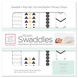 SwaddleDesigns® 4-Pack Pre-Washed Cotton Muslin Swaddle Blankets in Black