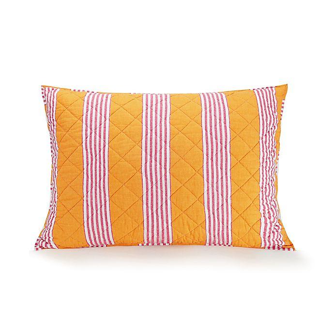 Alternate image 1 for Vera Bradley® Louisa Textured Stripe Standard Pillow Sham in Coral/Pink