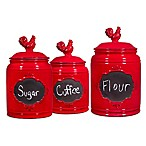 Home Essentials & Beyond Chalk Rooster Canister in Red (Set of 3)