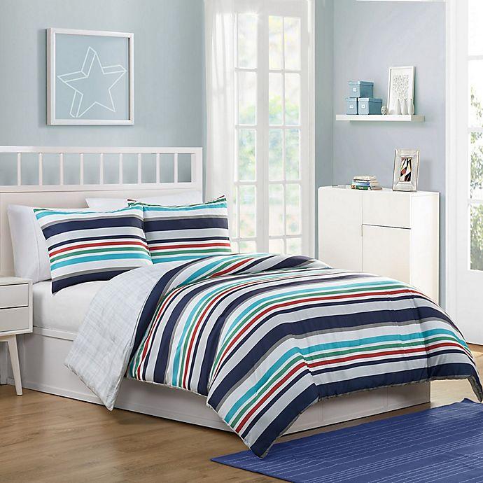 Alternate image 1 for VCNY Home Cosmic Stripe Reversible 3-Piece Full Comforter Set