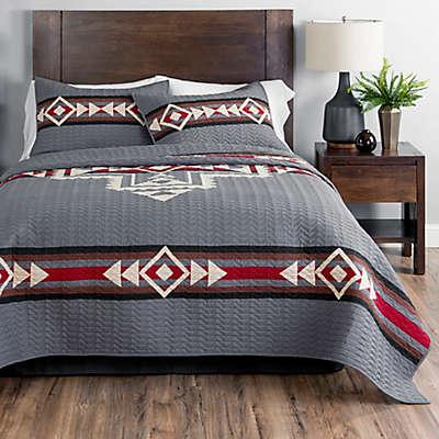 Pendleton® Crossroads Reversible Geometric Quilt Set in Grey