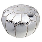 Style Co-op® Metallic Embroidered Pouf in Silver