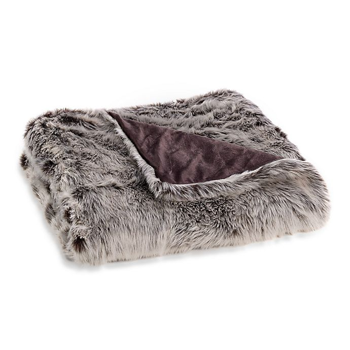 Alternate image 1 for Faux Fur Throw Blanket in Grey