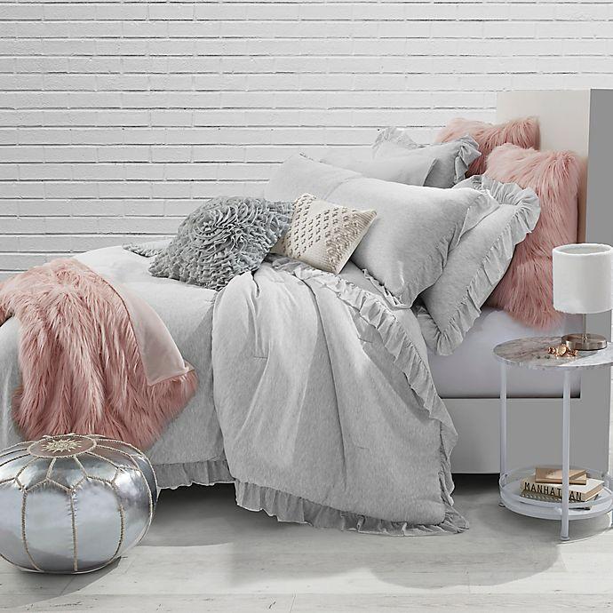 Jersey Knit Ruffle Twin Comforter Set In Light Grey