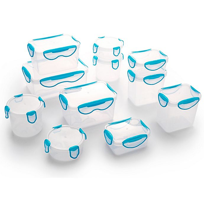 Alternate image 1 for ClipFresh 22-Piece Food Container Set in Teal Blue