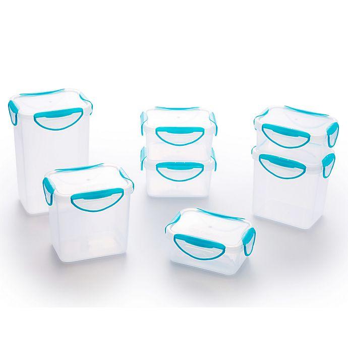 Alternate image 1 for ClipFresh 14-Piece Food Container Set in Teal Blue