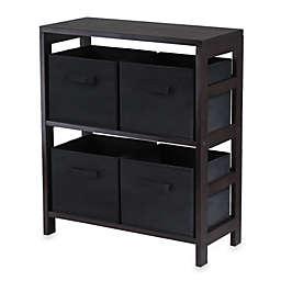 Capri 2-Tier Storage Shelf with 4 Foldable Baskets in Black