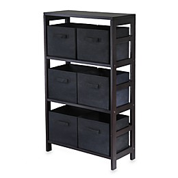 Capri 3-Tier Storage Shelf with 6 Foldable Baskets in Black