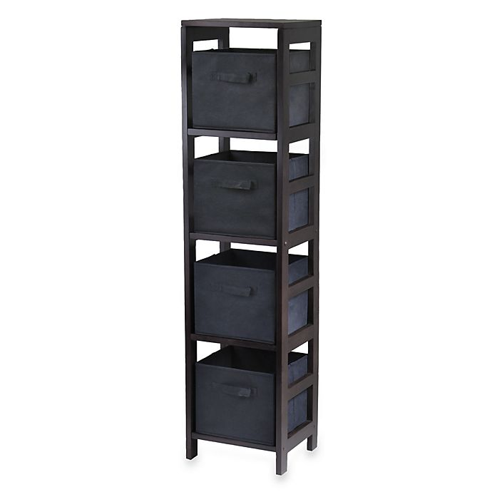 Alternate image 1 for Capri 4-Tier Storage Shelf with 4 Foldable Baskets in Black