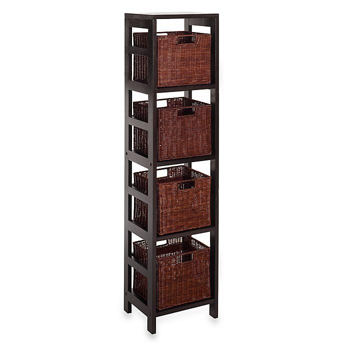 Storage Shelf With 4 Wire Frame Baskets