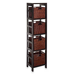 Leo Storage Shelf with 4 Wire Frame Baskets