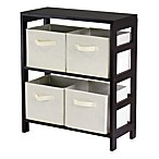 Capri 2-Section Storage Shelf with 4 Foldable Fabric Baskets in Beige